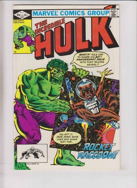 Incredible Hulk #271 VF guardians of the galaxy 1ST ROCKET RACCOON bill mantlo