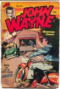 John Wayne Adventures #23 1950-Toby-John Wayne motorcycle cover-crime stories-G-