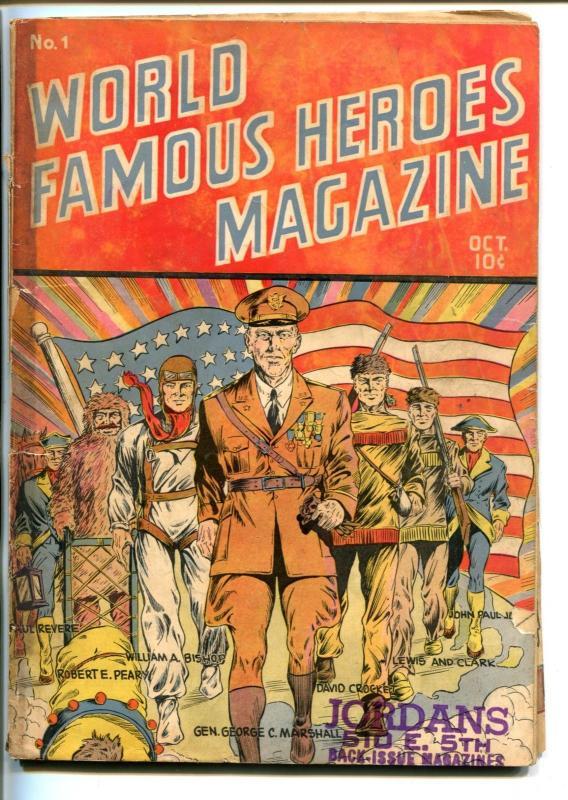 WORLD FAMOUS HEROES #1-1941-ALAMO-DAVY CROCKETT-SGT YORK-good+