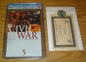 Civil War #5 CGC 9.8 mark millar - marvel's avengers - w/dynamic forces COA 2006