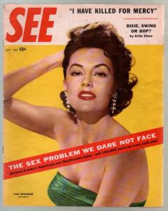 See 9/1954-Cyd Charisse photo cover-stockings-pin-ups-cheesecake-VG/FN