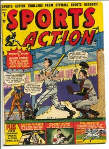 Sports Action #8 1951-Atlas-Joe Maneely baseball cover-Ralph Kiner-Warren Spa...