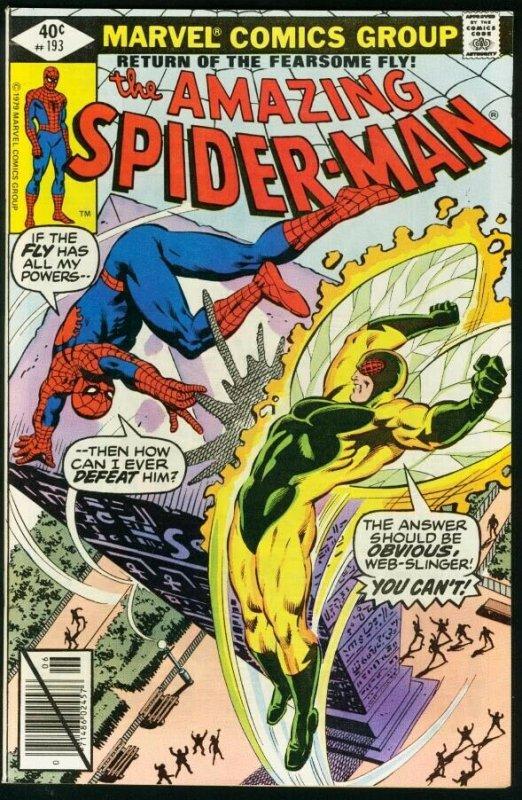 AMAZING SPIDER-MAN #193-1979-COOL-MARVEL-SPIDEY!-fine FN