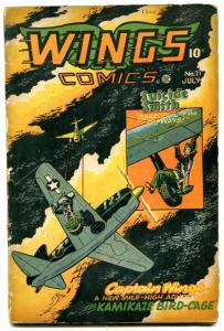 Wings #71 1946 -Fiction House Golden Age-Phantom Falcon- Suicide Smith G