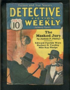 DETECTIVE FICTION WEEKLY PULP- 2/17/34-TORTURE-WHIPPING G/VG