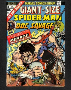 Giant-Size Spider-Man #3 FN- 5.5 Doc Savage!