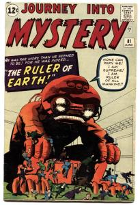 JOURNEY INTO MYSTERY #81-1962-MARVEL-HORROR-KIRBY-DITKO-fn+
