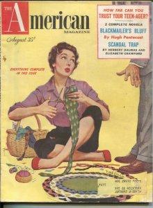 American Magazine 8/1954-tie mayhem cover-Hugh Pentecost pulp fiction-classic...