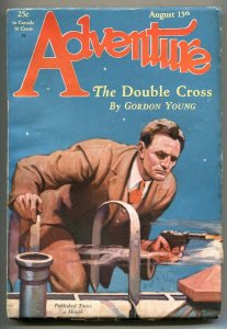 Adventure Pulp August 15 1929- Double Cross- Luger cover F/VF