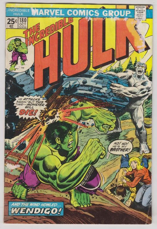 the Incredible Hulk #180 marvel comics - 1st cameo of wolverine - with stamp