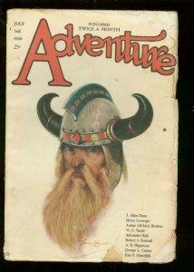 ADVENTURE PULP-7/3 1920-VIKING COVER-J ALLAN DUNN-RARE G