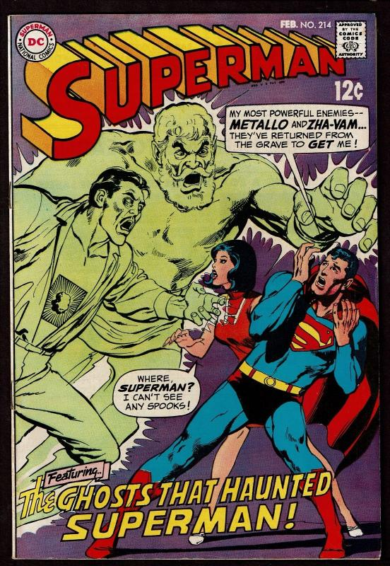 Superman #214 (Feb 1969, DC) FN/VF