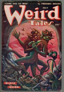 Weird Tales 7/1949-Matt Fox monster horror cover-Quinn-Lieber-FN/VF