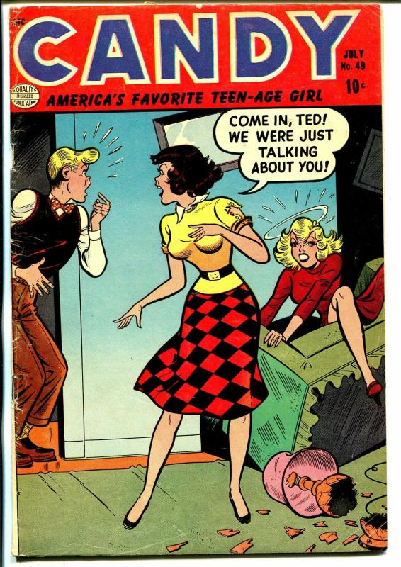 Candy #49 1954-Quality-Spicy Good Girl Art-Girl Fight cover-VG