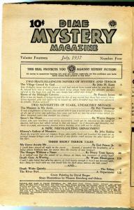 Dime Mystery Pulp January 1937- Satan's Sin House- coverless