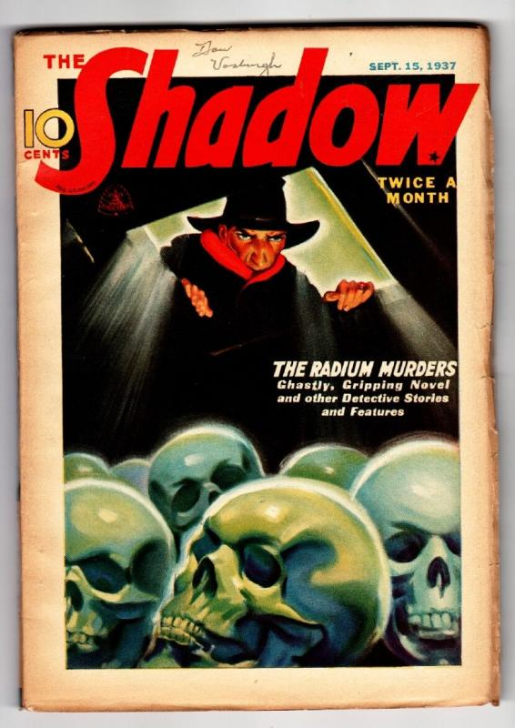 SHADOW 1937 Sept 15 -High Grade- STREET AND SMITH-RARE PULP FN/VF