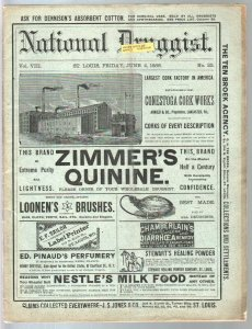 National Druggist 6/4/1886-cocaine ads-diarrhea remedy-historic-rare-VG