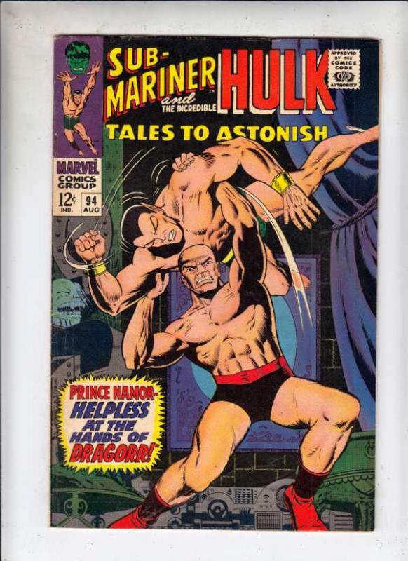 Tales to Astonish #94 (Aug-67) FN Mid-Grade Incredible Hulk, Namor