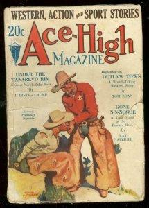 ACE-HIGH MAGAZINE 2nd FEB 1932-WESTERN & SPORTS PULP-good minus G-