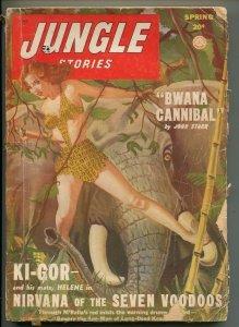 JUNGLE STORIES-SPRING 1949-SPICY JUNGLE GIRL ART-KI-GOR-good