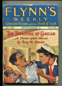 FLYNN'S WEEKLY DETECTIVE FICTION-SEPT 4 1926-PULP-CRIME-HINDS-FIGHT-good/vg