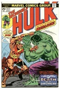 INCREDIBLE HULK #177 comic book-Warlcok vs. Hulk-Marvel 1974 FN-