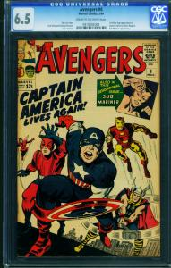 Avengers #4 cgc 6.5 1964 comic book-1st Silver-Age Captain America 0918302009