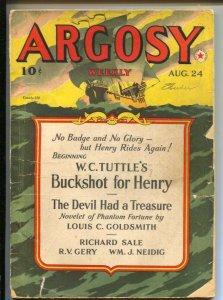 Argosy 8/24/1940-Munsey-Pulp thrills by W.C. Tuttle-E. Hoffman Price-Richard ...