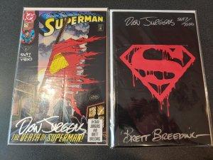 SUPERMAN #75 BAGGED EDITION & REGULAR SIGNED BY DAN JURGENS & BRETT BREEDING