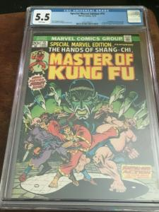 SPECIAL MARVEL EDITION#15-CGC 5.5 FN- 1ST APP SHANG-CHI-BRONZE AGE BLUE CHIP KEY