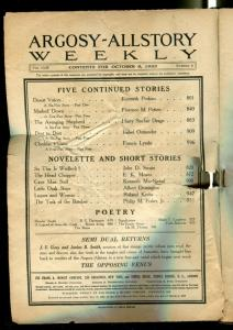 Argosy All-Story Weekly Pulp October 6 1923- coverless copy