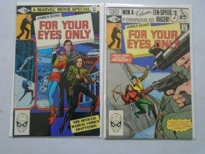 James Bond For Your Eyes Only set #1+2 Direct edition 6.0 FN (1981 Marvel)