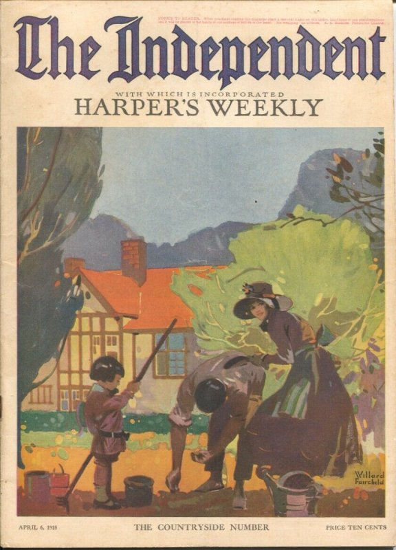 The Independent 4/6/1918-WWI issue 100+ years old-incorporates Harper's Weekl...