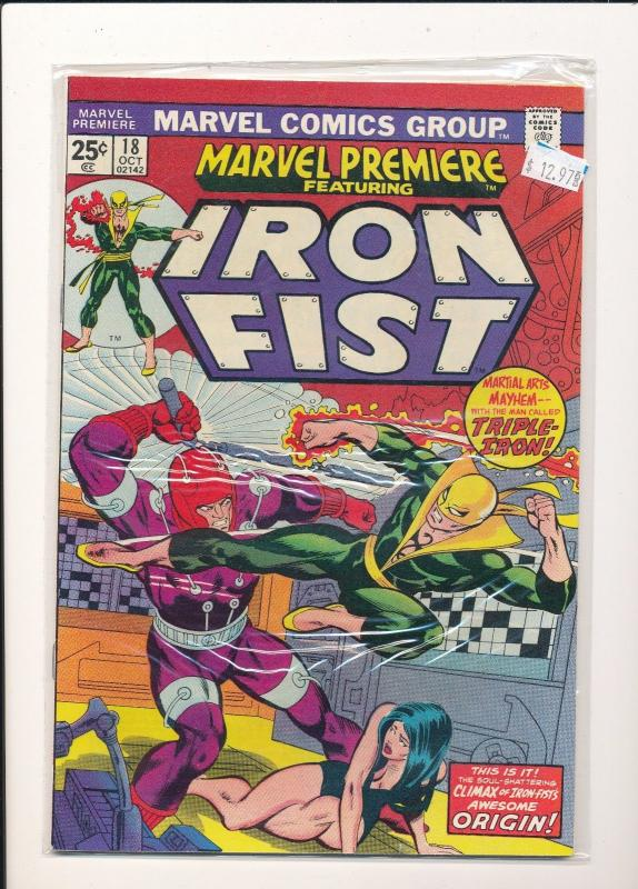 Marvel Comics IRON FIST Oct #18 1974 F/VF (SIC588)