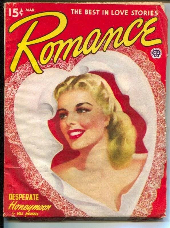 Romance 3/1949-pin-up girl cover-female pulp fiction authors-Valentine's issue-V