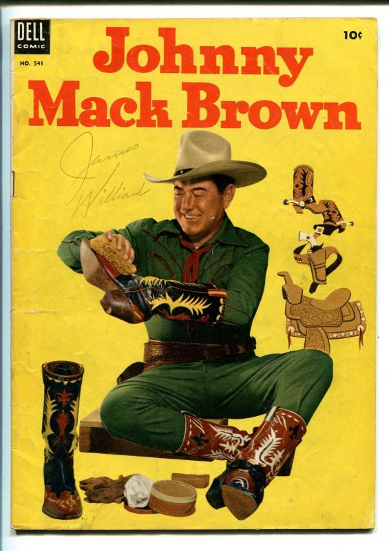 JOHNNY MACK BROWN #541-1954-DELL-WESTERN-FOUR COLOR-PHOTO COVER-vg