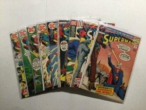 Superman 250-258 Lot Run Set Very Fine To Nm- 8.0-9.2 Dc Comics