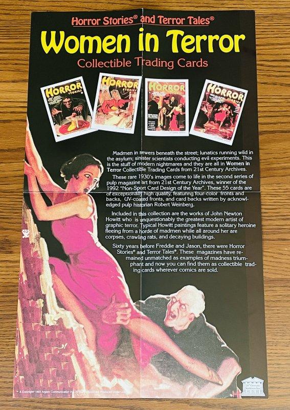 WOMEN IN TERROR TRADING CARDS PROMO POSTER 1993 HORROR JOHN NEWTON HOWITT PULP