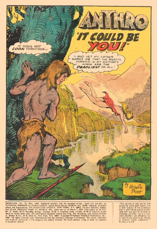 ANTHRO COMPLETE RUN! (SHOWCASE #74, Issues #1-6) (1968-69)4.5 VG+  Howie Post!