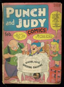 PUNCH AND JUDY #7 1947-WILD COVER-STRANGE HUMOR COMIC G/VG