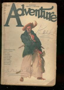 ADVENTURE PULP-JAN 3 1921-PIRATE COVER-J ALLAN DUNN-RAR G