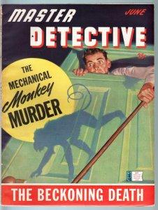 MASTER DETECTIVE JUN 1943-FN/VF-WILD HITLER STORY-MONKEY MURDER-PULP-TRUE  FN/VF