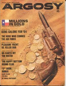 Argosy 9/1963-Popular-Hugh Pentecost-crime-mystery-pulp thrills-VG