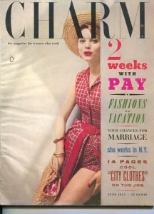 Charm 6/1955-magazine for women who work-fashions, trends-make-up-FN
