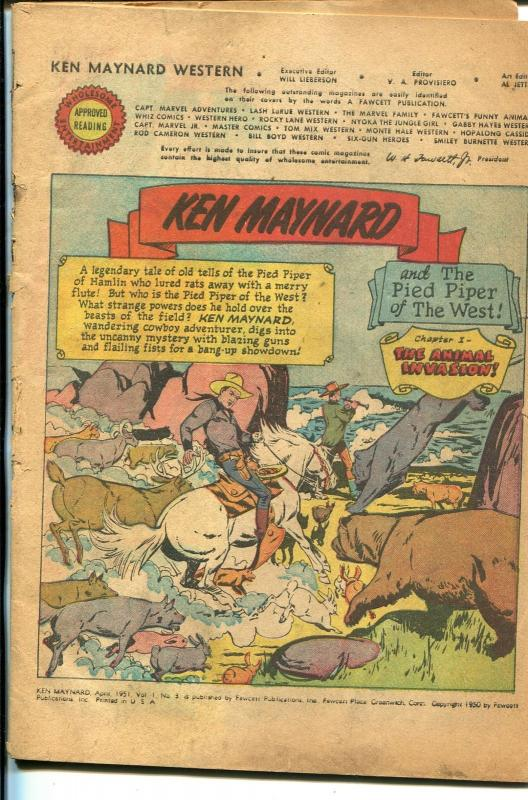 Ken Maynard #3 1951-Fawcett-3 chapter story-coverless copy-P