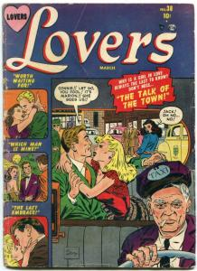 Lovers #38 1951- Atlas Romance- Taxi cover- Hartley- Krigstein G