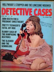 Detective Cases 4/1965-Brookside-telephone cover-crime & pix-pulp thrills-FN