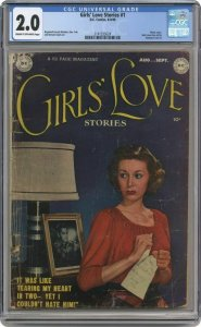 Girls' Love Stories #1 DC 1949 CGC  2.0 Photo Cover Pre Code