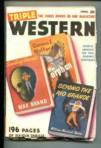 TRIPLE WESTERN-#1-SPG 1947-PULP FICTION-SOUTHERN STATES PEDIGREE-fn