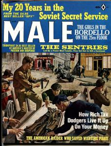 Male Magazine March 1966 Nazi french resistence cover-WWII-bad mags-pulps